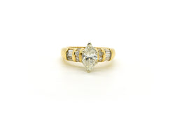 14k Yellow Gold Marquise Diamond Engagement Ring - 1.30 ct. total - Size 6