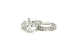 Platinum Marquise Diamond Engagement Wedding Ring Set - 2.00 ct. tw - Size 5.25