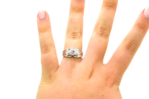 14k White Gold Round Diamond Solitaire Engagement Ring - .60 ct. - Size 8.25