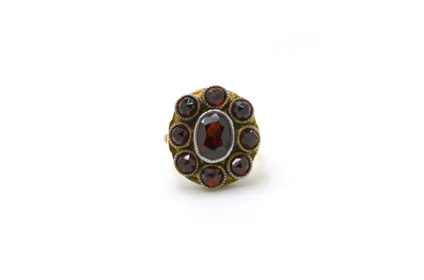 Vintage 8k Rose Yellow and White Gold Garnet Cocktail Cluster Ring - Size 6.5