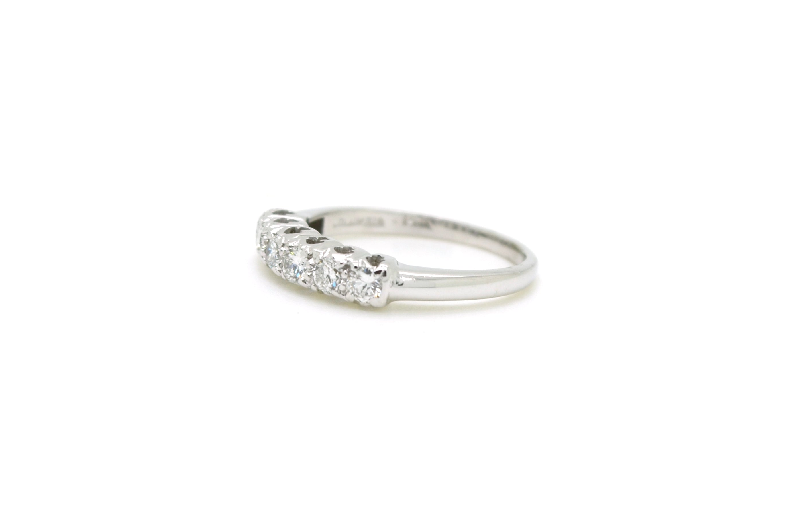 14k White Gold Round Diamond Six Stone Band Ring - .45 ct. total - Size 6.5