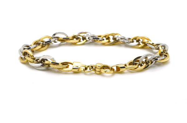 14k Yellow & White Two-toned Gold Link Chain Charm Bracelet - 5.4 dwt - 7.75 in.