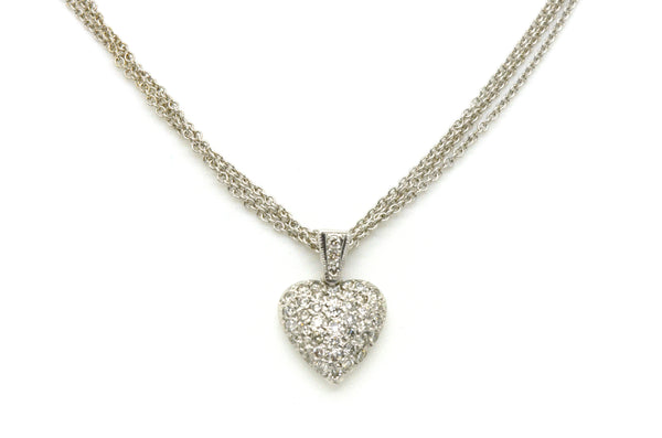 14k White Gold Diamond Heart Necklace on 3 Multi-Chain - .85 ct. total - 16 in.