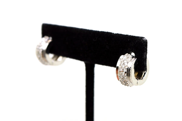 14k White Gold Pave Diamond Huggie Hoop Earrings - 14 mm Drop - .50 ct. total