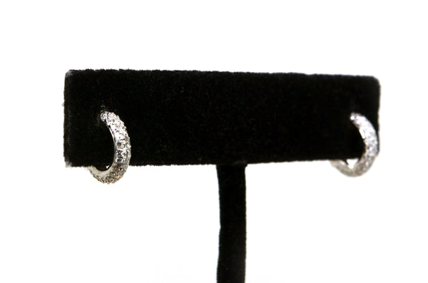 14k White Gold Pave-set Diamond Huggie Hoop Earrings - .50 ct. tw - 10.5 mm drop
