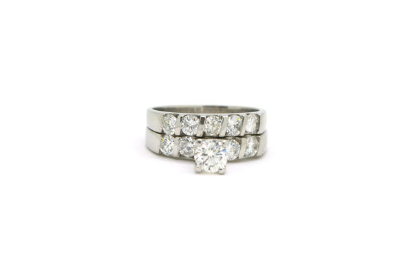 Platinum Diamond Engagement & Wedding Band Ring Set - 1.75 ct. total - Size 6.75