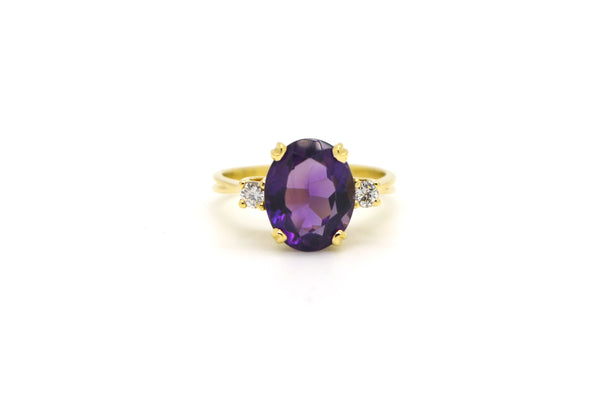 14k Yellow Gold Diamond & Purple Amethyst Cocktail Ring - 3.15 ct tw - Size 5.75