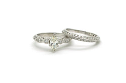 Platinum Marquise Diamond Engagement Wedding Ring Set - 1.06 ct. total - Size 5