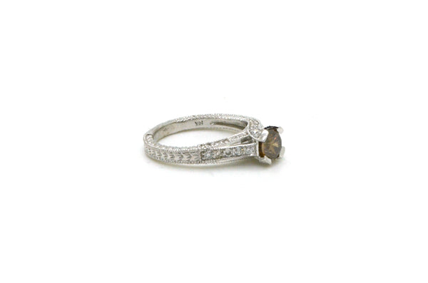 14k White Gold Round Brown Diamond Engagement Ring - 1.15 ct. tw - Size 6.5