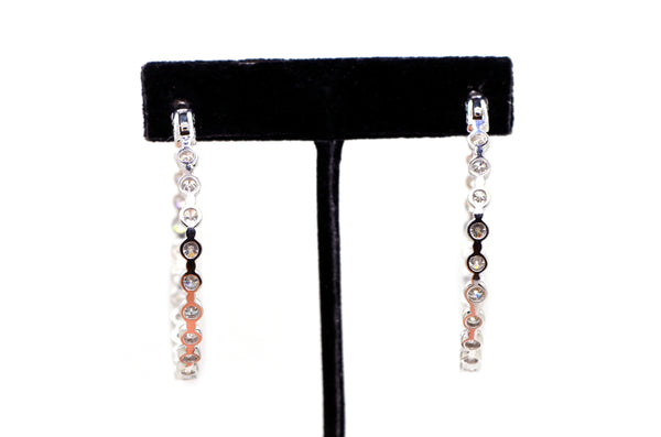 14k White Gold Diamond Inside Out Hoop Earrings - 50 mm Diameter - 10.00 ct. tw