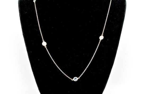 14k White Gold Blue Sapphire & Diamond by-the-Yard Style Necklace - 2.39 ct. tw