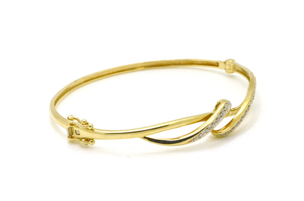 10k Yellow Gold Diamond Swirl Twist Bangle Bracelet - 0.20 ct. total - 6.5 in.
