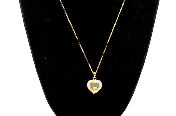 14k Yellow Gold Diamond Heart Shaped Window Necklace - .20 ct. total - 18 in.