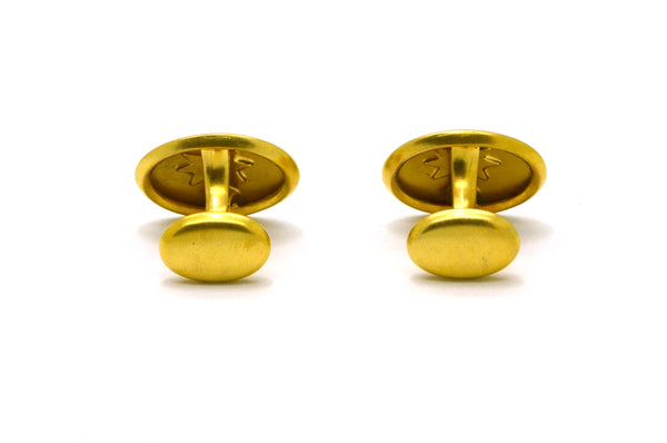 Vintage Pair of 10k Yellow Gold Oval Shaped Textured Cufflinks - 2.7 dwt