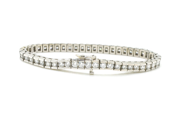 14k White Gold Channel-Set Round Diamond Tennis Bracelet - 6.00 ct. tw - 7 in.