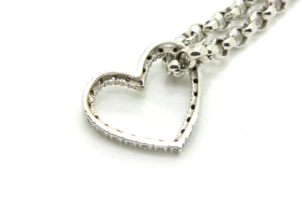14k White Gold White & Black Diamond Heart Rolo Bracelet - .50 ct. tw - 7.5 in.