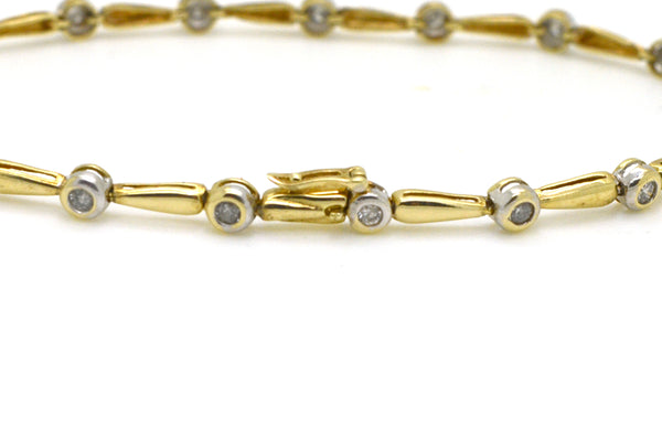 10k White & Yellow Gold Diamond Link Tennis Bracelet - .25 ct. total - 7 in.