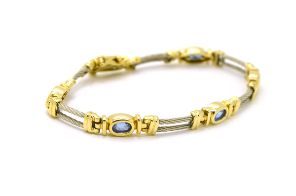 14k White & Yellow Gold Oval Tanzanite Tennis Bracelet - 1.00 ct. total - 7 in.