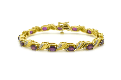 14k Yellow Gold Diamond & Garnet Tennis Fine Bracelet - Diamonds .65 ct. - 7 in.