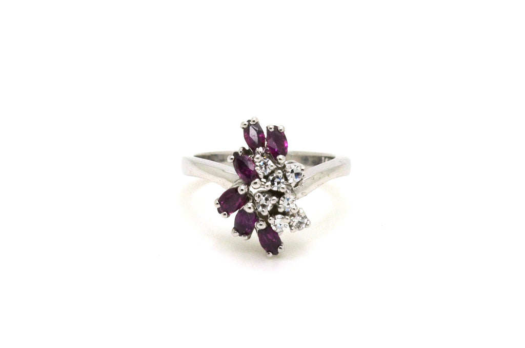 14k White Gold Garnet & Diamond Cluster Cocktail Ring - .60 ct total - Size 4.75