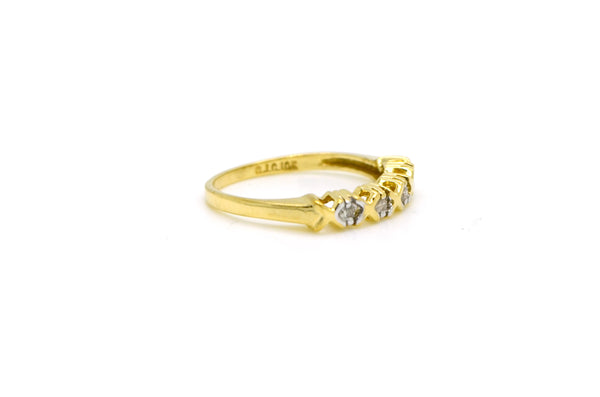 10k Yellow Gold Four Stone Round Diamond XO Band Ring - .10 ct. total - Size 4