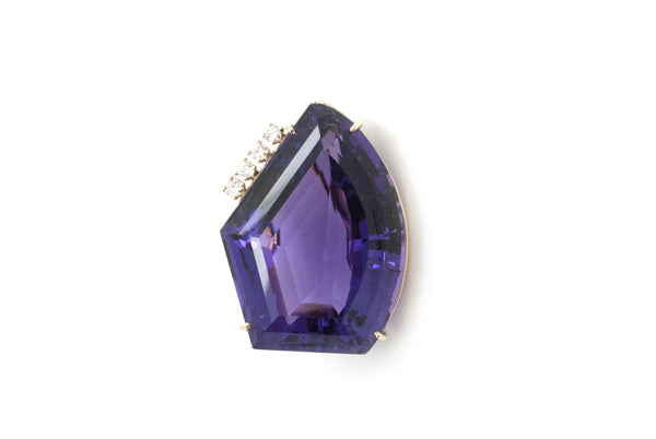 14k Yellow Gold Purple Amethyst Abstract Pendant with Diamonds - 30 x 22 x 15 mm