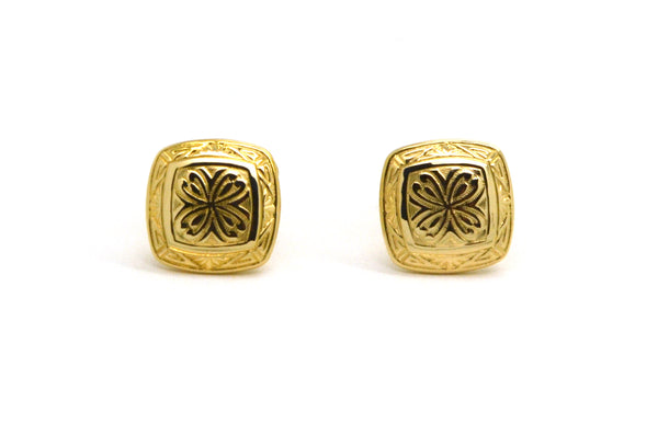 Vintage 14k Yellow Gold Square Shaped Cufflinks with Engraving - 2.9 dwt
