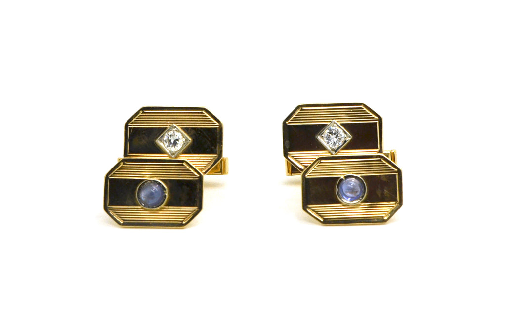 Vintage 14k Yellow Gold Cufflinks with Diamonds & Sapphires - 7.2 dwt