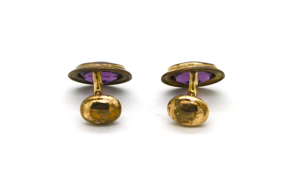Vintage 14k Yellow Gold Oval Shaped Cufflinks with Purple Amethyst - 3.6 dwt