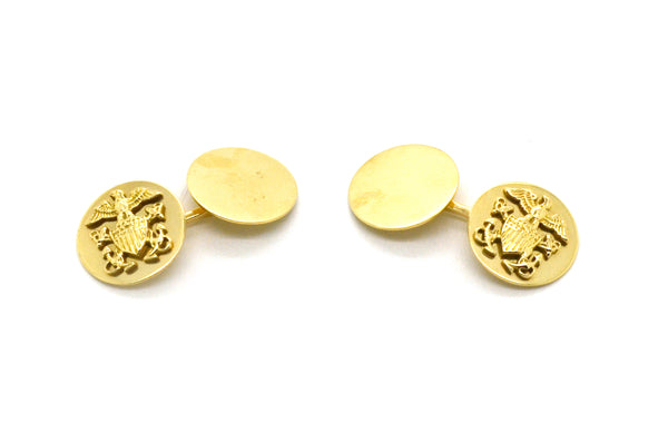 Vintage 14k Yellow Gold Round Shaped Cufflinks with Eagle Emblem - 5.8 dwt