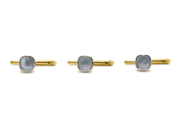 Vintage 14k White & Yellow Gold Set of Three Studs with Mother of Pearl Inlay