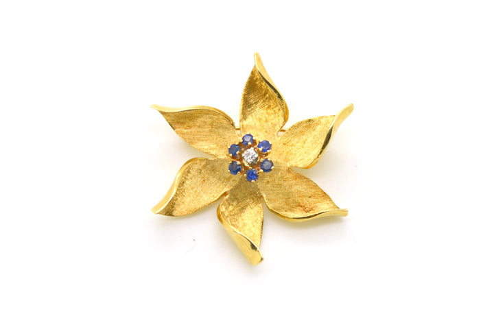 Vintage 14k Yellow Gold Diamond & Sapphire Flower Pin Brooch - .35 ct. total