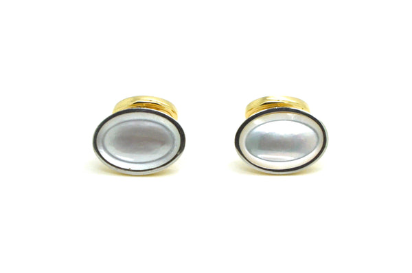 Vintage 14k Yellow & White Gold Oval Cufflinks with Mother of Pearl - 4.5 dwt