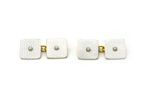 Vintage 18k Yellow Gold & Platinum Square Textured Seed Pearl Cufflinks -5.6 dwt