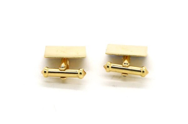 Vintage 14k Yellow Gold Square Cufflinks with Blue Sapphires - 2.75 ct. total