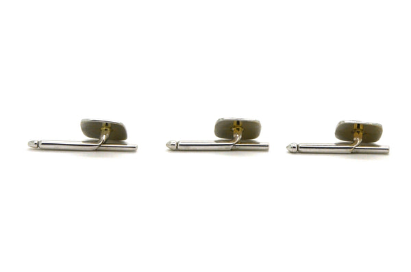 Vintage 14k White Gold Set of Three Square Studs with Diamonds - .10 ct. total