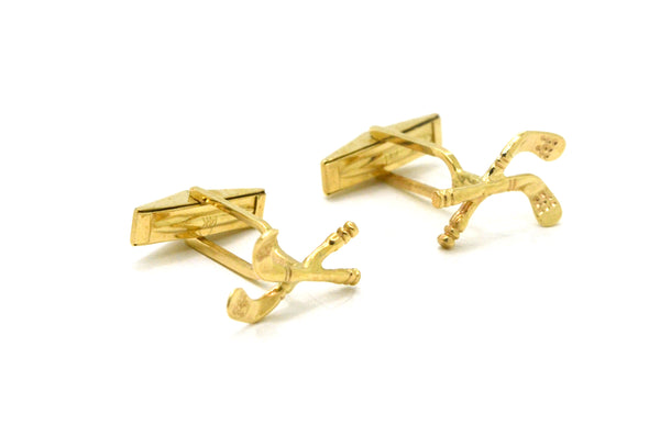 Vintage 14k Yellow Gold Golf Club Emblem Cufflinks - 3.1 dwt