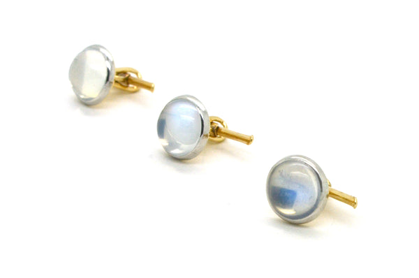 Vintage 14k White & Yellow Gold Set of Three Studs with Moonstone Cabochons