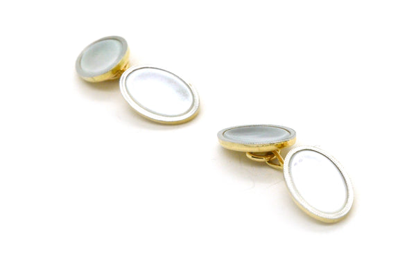 Vintage 14k Yellow & White Gold Oval Cufflinks with Mother of Pearl - 4.1 dwt