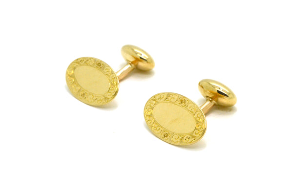 Vintage 14k Yellow Gold Oval Shaped Engraved Border Cufflinks - 3.6 dwt