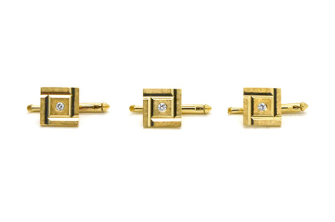 Vintage 14k Yellow Gold Set of Three Square Studs with Diamonds - .15 ct. total