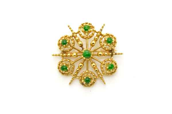 Vintage 14k Yellow Gold Star Shaped Jade Pin Brooch and Pendant - 33 mm Diameter