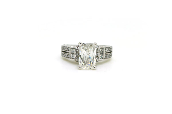 14k White Gold Radiant Cut Diamond Engagement Ring - 2.52 ct. total - Size 5