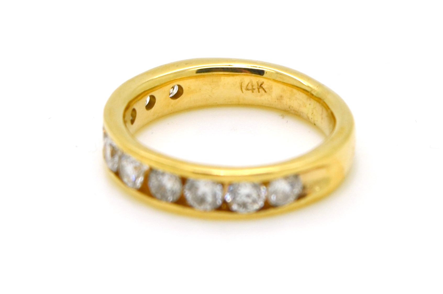 14k Yellow Gold Channel Round Diamond Band Ring - 1.30 ct. total - Size 5