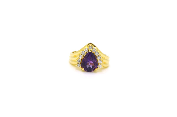 14k Yellow Gold Diamond & Amethyst Cocktail Ring - 1.75 ct. total - Size 4