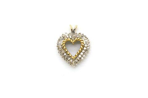 10k White & Yellow Gold Heart Shaped Diamond Pendant - .60 ct. total
