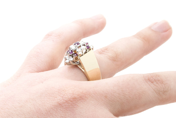 14k Yellow Gold Diamond & Ruby Cocktail Cluster Ring - .90 ct. total - Size 7.25