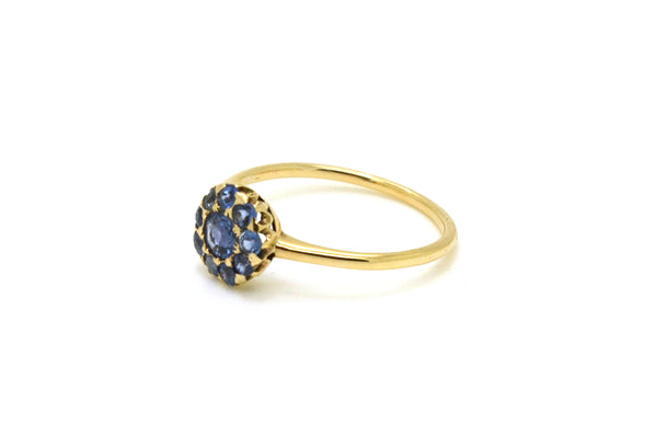 Vintage 14k Yellow Gold Blue Sapphire Cluster Ring - .70 ct. total - Size 8.75