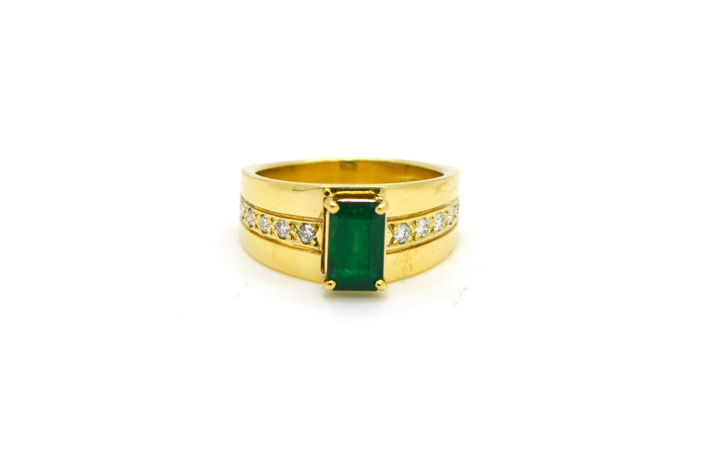 14k Yellow Gold Diamond & Emerald Cocktail Band Ring - 1.80 ct. total - Size 7.5