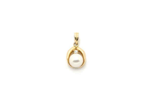 14k Yellow Gold 7 mm White Pearl & Diamond Drop Pendant - .03 ct.